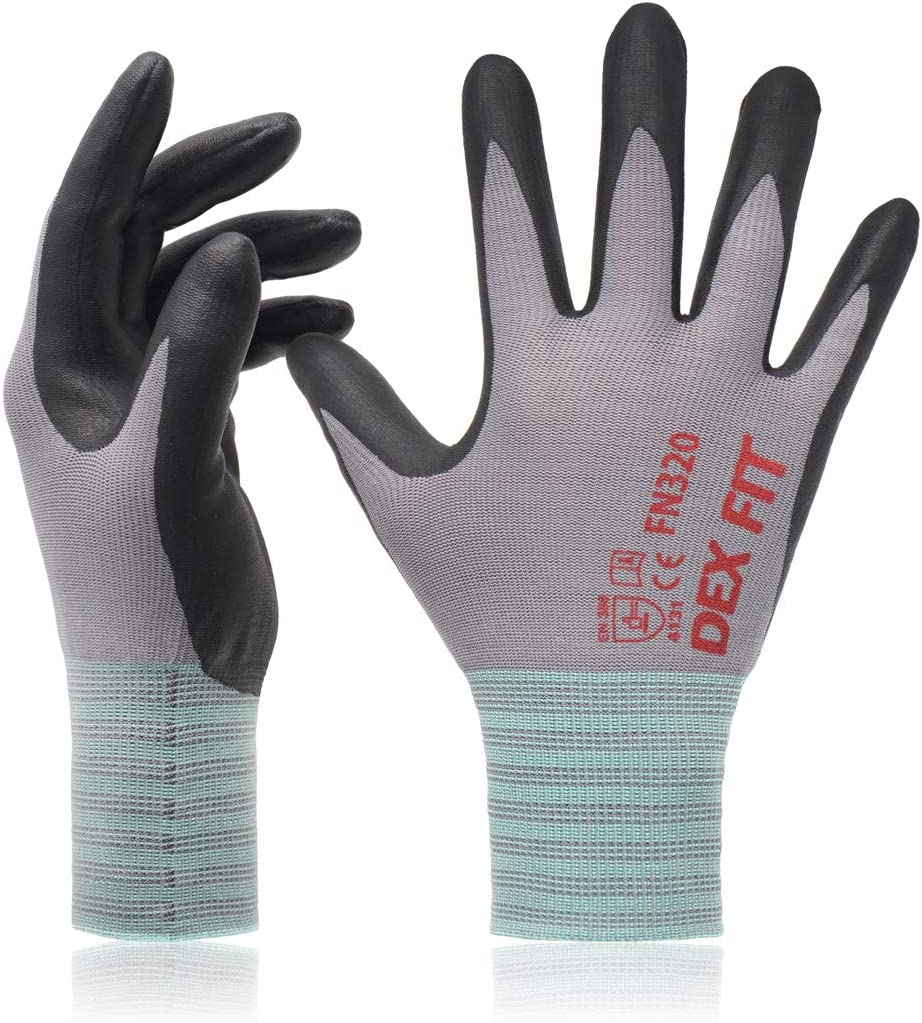 DEX FIT Nitrile Work Gloves FN320, 3D Comfort Stretch Fit, Power Grip, Durable Foam Coated, Thin & Lightweight Premium Nylon, Machine Washable, Gray X-Large 3 Pairs