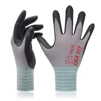 Comfort 3D Stretch Fit Espuma de nitrilo duradero Delgado ligero y alto el/ástico Azul X-Small 3 Pairs DEX FIT FN320 Guantes de trabajo para jardiner/ía Power Grip lavable a m/áquina