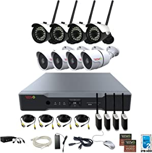 REVO Aero 16CH Full-HD DVR System, 2TB with 4 x 720p Wireless Bullet Cameras and 4 x 1080p Wired Bullet Cameras