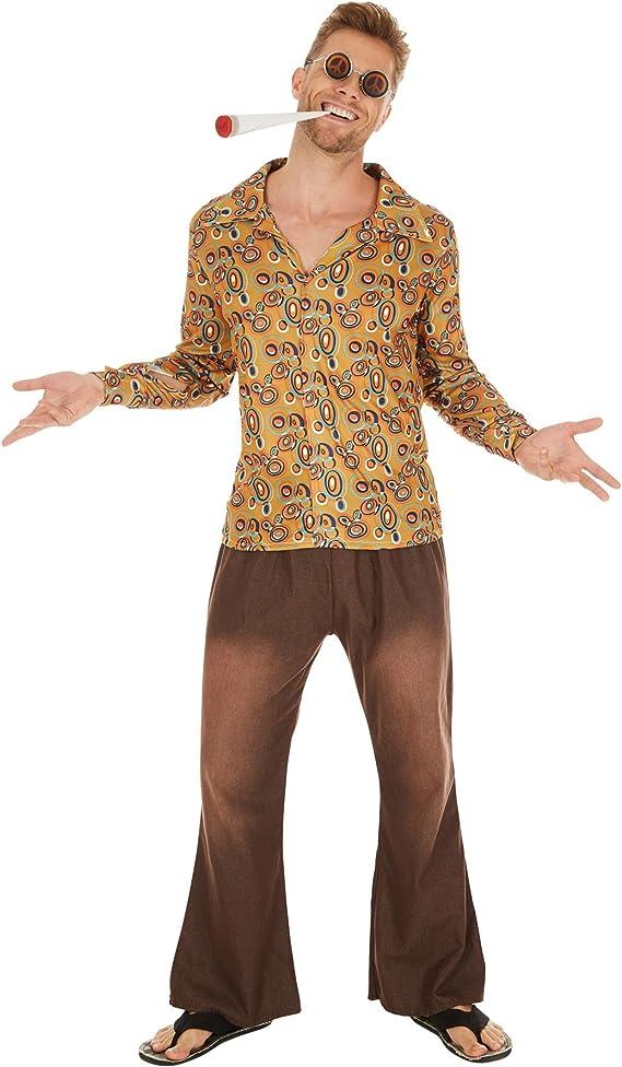 TecTake Disfraz de Hippie John para Hombre | Camisa Retro de Tela ...
