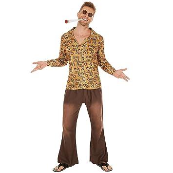 Disfraz de Hippie John para Hombre | Camisa Retro de Tela y Pantalones desenfadados (XXL | No. 300966)