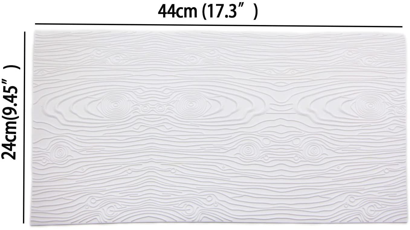Sunglory Woodgrain Fondant Impression Mat Silicone Cake Lace Mold Color White