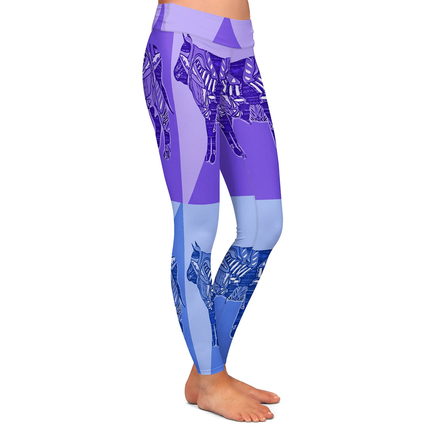 Athletic Yoga Leggings from DiaNoche Designs by Susie Kunzelman Pop Cow Blue Purple