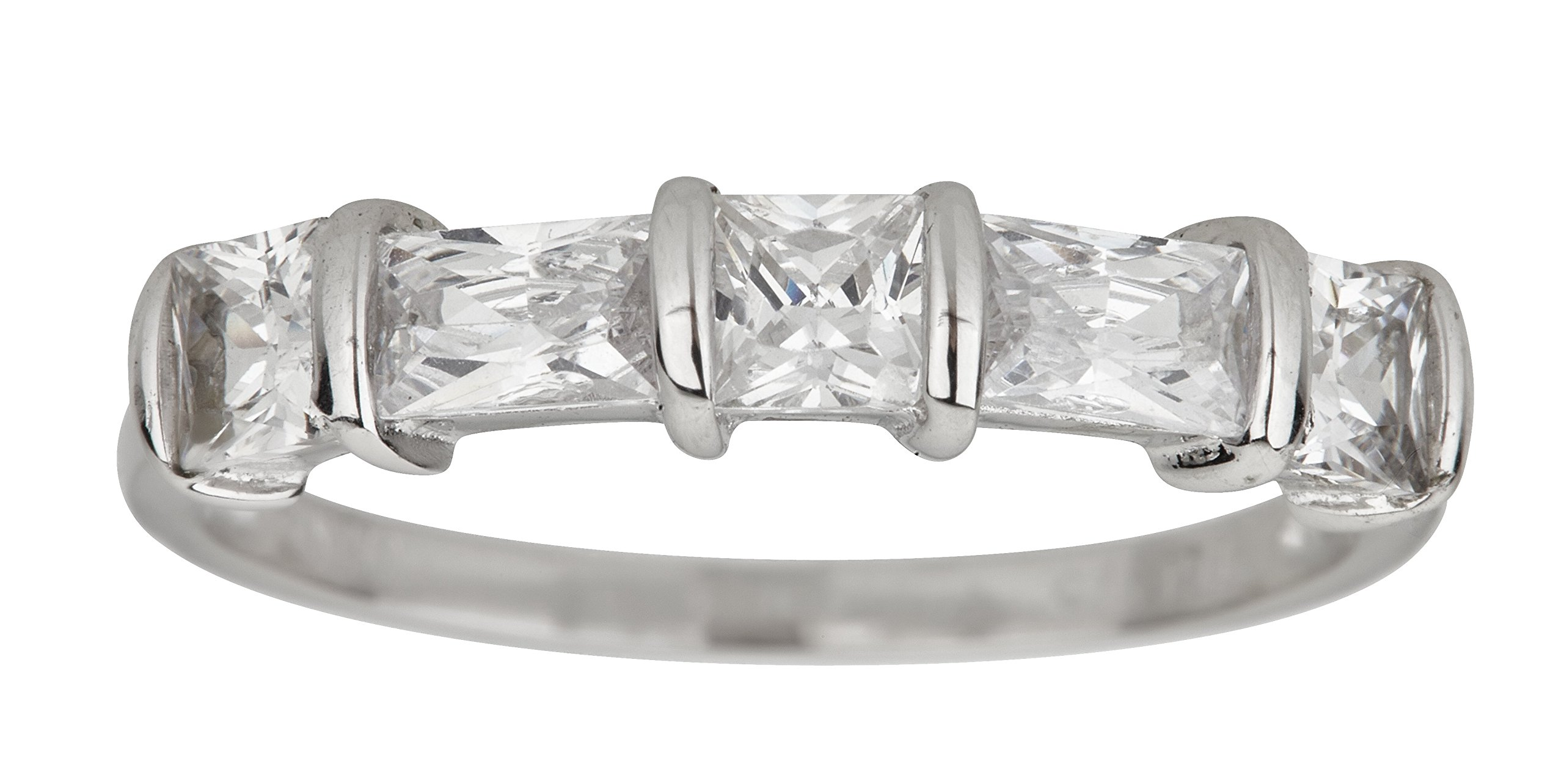 Sterling Silver Baguette & Princess Cut 5 Stone Cubic Zirconia Anniversary Band Ring