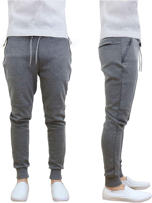 M Size Zipper Gray Galaxy Harvic Mens Slim Fit Fleece Jogger Pants