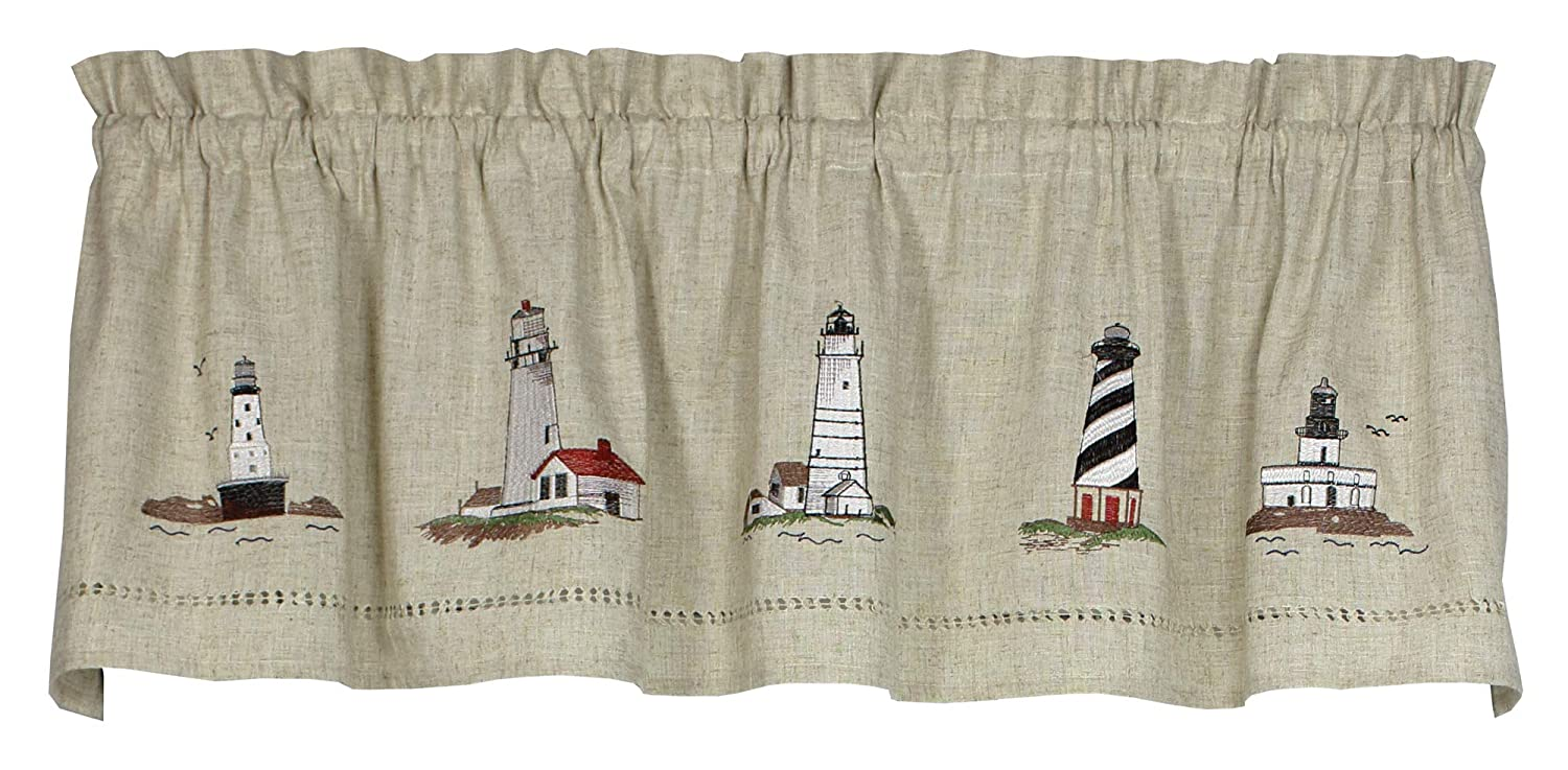 """Snapshots Lighthouses Embroidered Curtain Valance, 58""""W x 14""""L, Linen"""