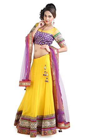 b5be7e69b2 Mina Bazaar Women's Georgette and Brocade Ready Made Lehenga Choli  (MBGHA00016_Yellow_M)