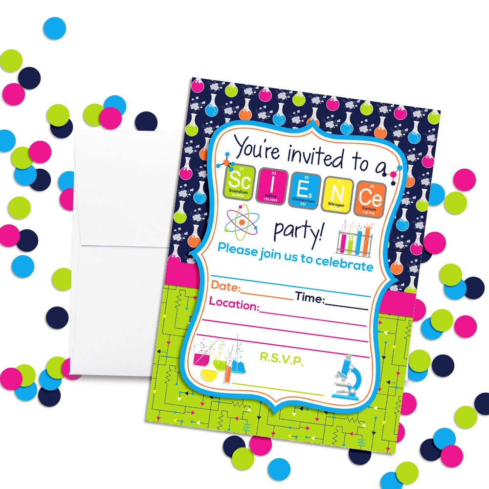 Amazon.com: Science Themed Birthday Party Fill in Invitations set of ...