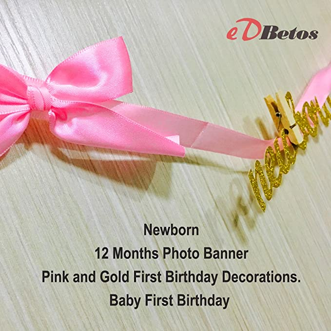 Amazon Pink And Gold First Birthday Decorations Newborn To 12 Months Photo Banner Garland For Girls Toys Games