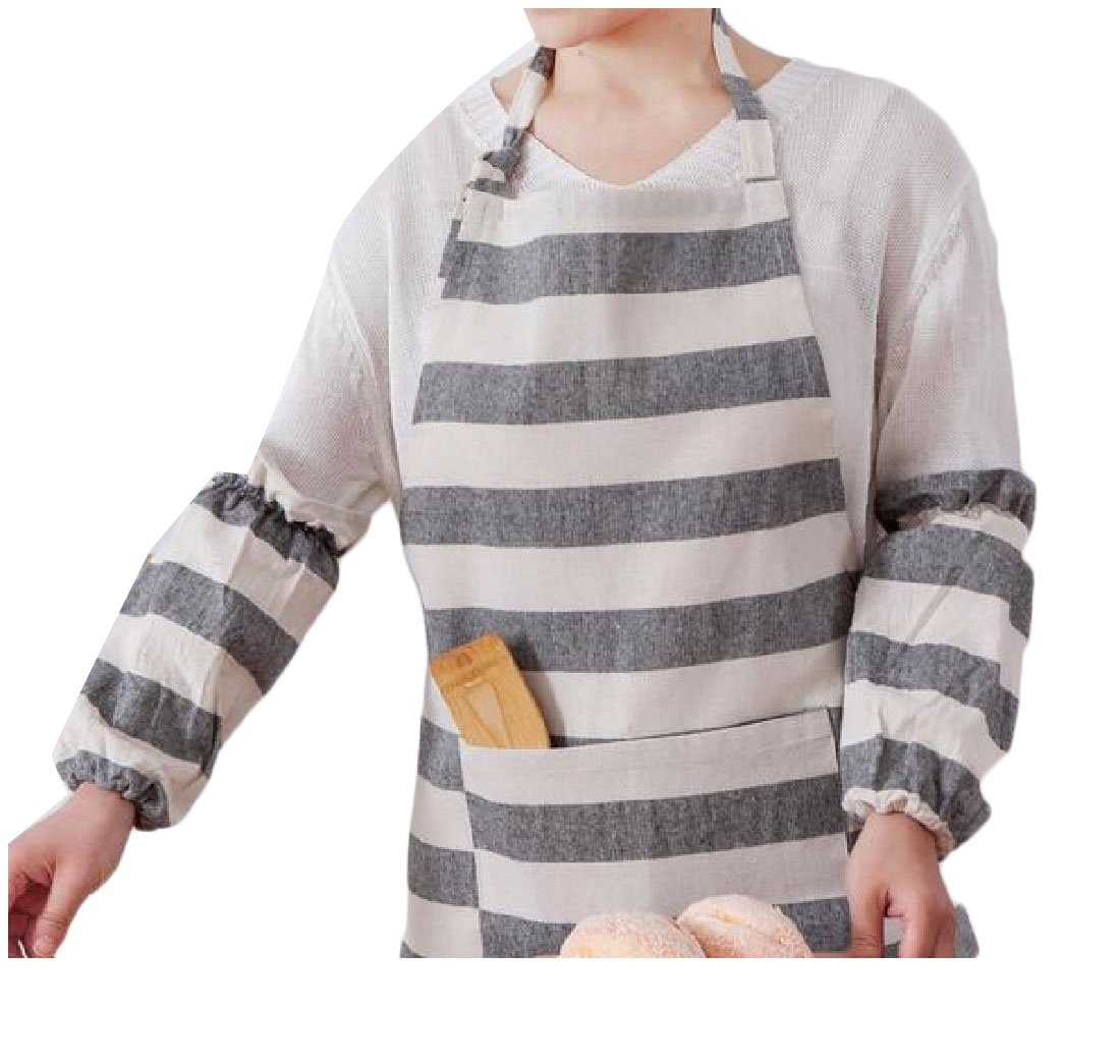 Freely Kitchen Home Durable Stripe Linen Clean with Convenient Pockets Easy Care Thicker Version Kitchen Chef Apron AS1