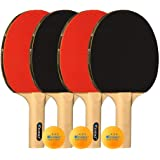KEVENZ Patent Advanced Table Tennis Racket Come with Anti-Skid Handle, Wooden Blade Surrounded by Rubber, That Make Easier to Hold The Handle and Speed up The Ball Speed(2-Pack ping Pong Paddle)