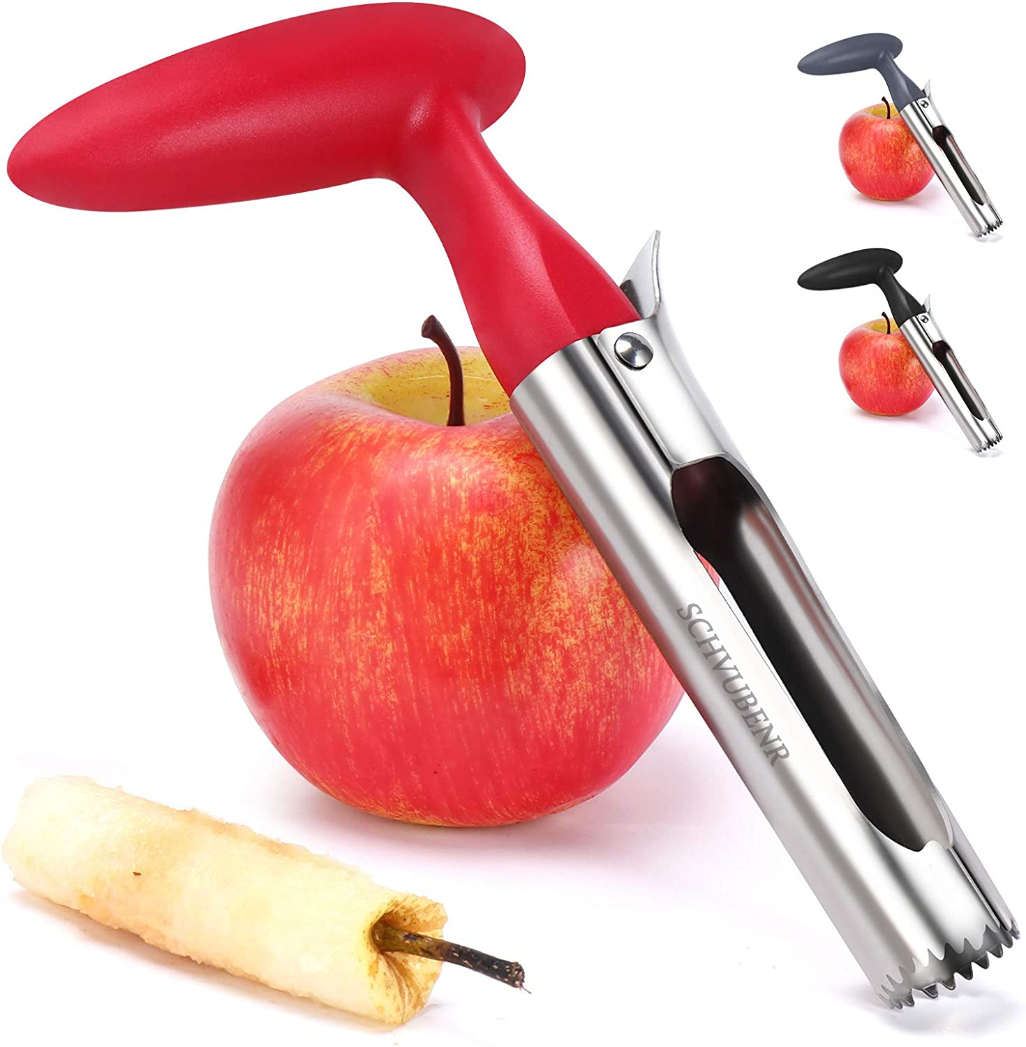 SCHVUBENR Premium Apple Corer Tool - Easy to Use and Clean - Sturdy Apple Core Remover with Sharp Serrature - Stainless Steel Corers for Apple and Pear - Core Fruits with Ease(Red)