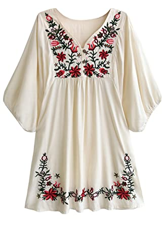 1bf0d63f58f Amy Babe Mexican Floral Embroidered Peasant Flowy Blouse Dressy Cover Ups Tunic  Tops Beige