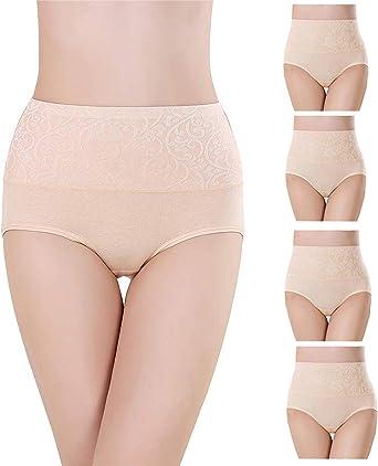 Misolin Bragas Talle Alto Algodón para Mujer Cómodo elástico Bragas Pantalones de Mujer Pack de 5/4/3: Amazon.es: Ropa y accesorios
