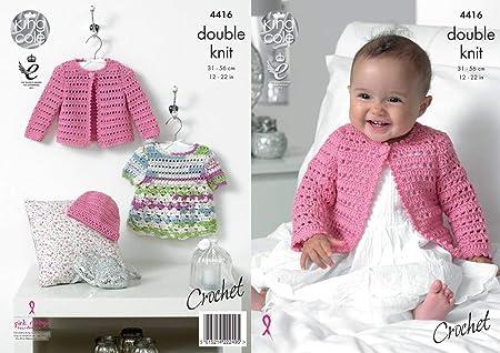 King Cole Baby Double Knit Crochet Pattern Lace Effect Dress