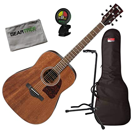 0827ecdae7 Amazon.com: Ibanez AW54OPN AW Artwood Open Pore Natural Acoustic Guitar w/ Bag, Tuner, Stand,: Musical Instruments
