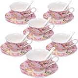 fanquare 7oz Coffee Cup Set,Flowers and Birds Porcelain Coffee Tea Sets,Set of 6 Ceramic Tea Cup and Saucer-Pink