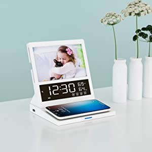FM Radio Alarm Clock with Qi Wireless Charging, Pointuch Desk Bedside Clock 12/24 H, 10 Ringtones, Temperature Humidity Calendar, 6'' Paper Card Photo Frame, Digital Clock with 18W USB Charger, White