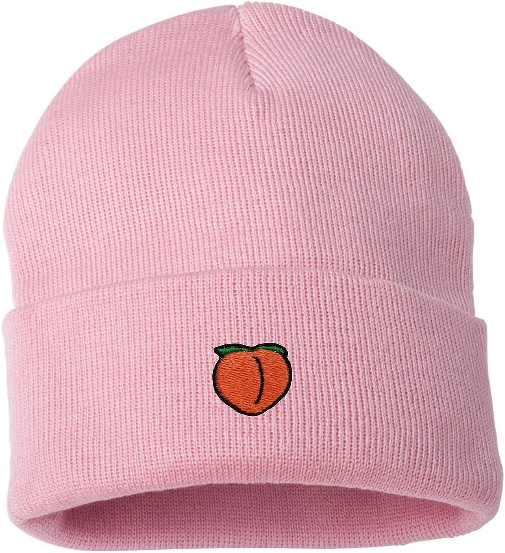 Adult Peach Embroidered Cuffed Knit Beanie Cap
