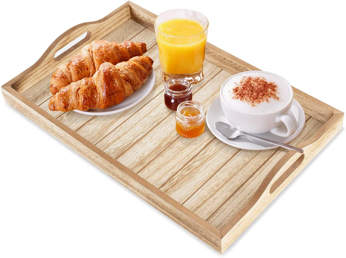 coffee table tray breakfast serving tray wooden tray with handles for ottoman premium quality and sturdy rustic design decorative