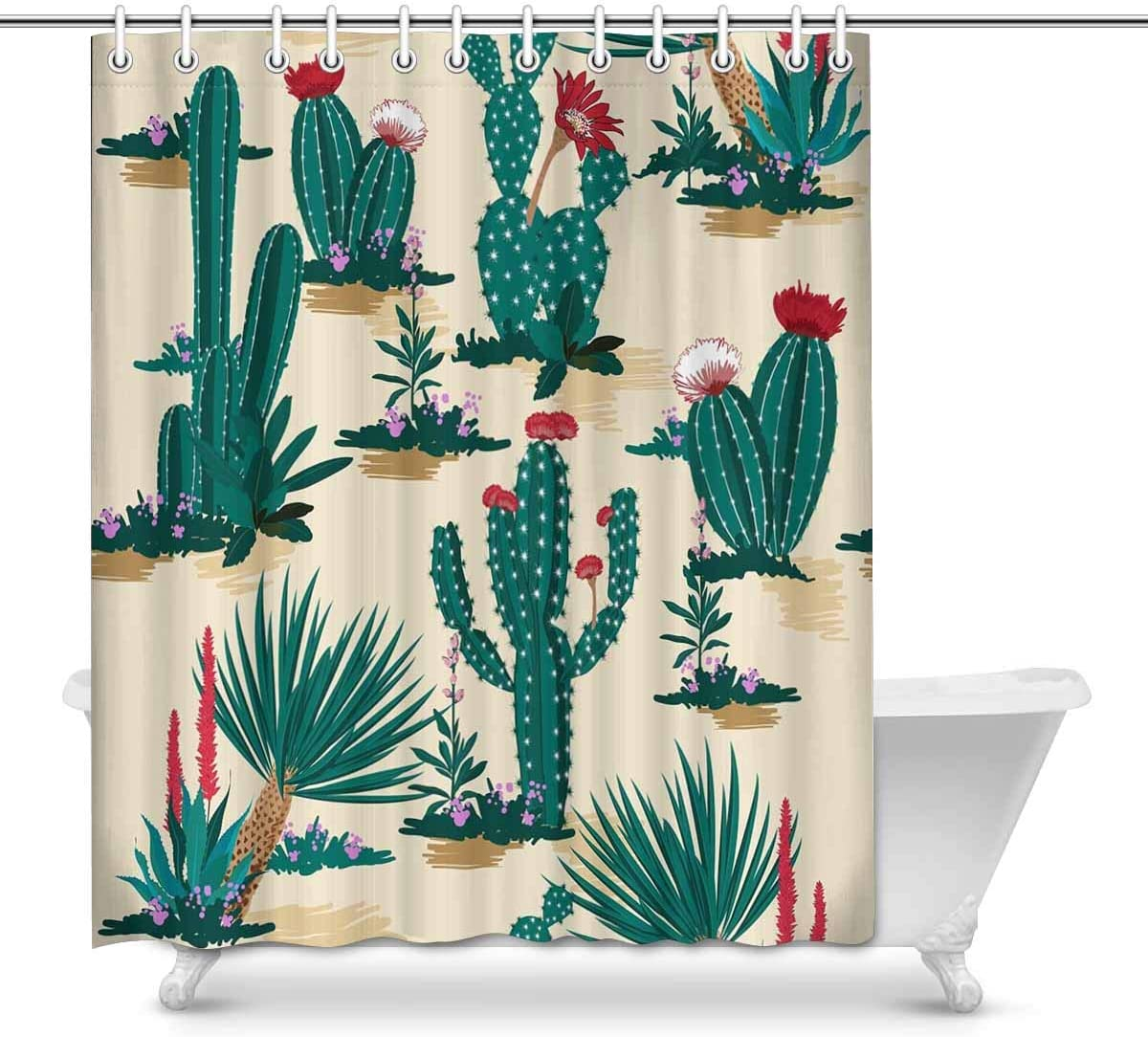 Amazon Com Interestprint Pattern Summer Cactus On Desert Prints Shower Curtain For Bathroom Decorations Sets 60 X 72 Inches Home Kitchen