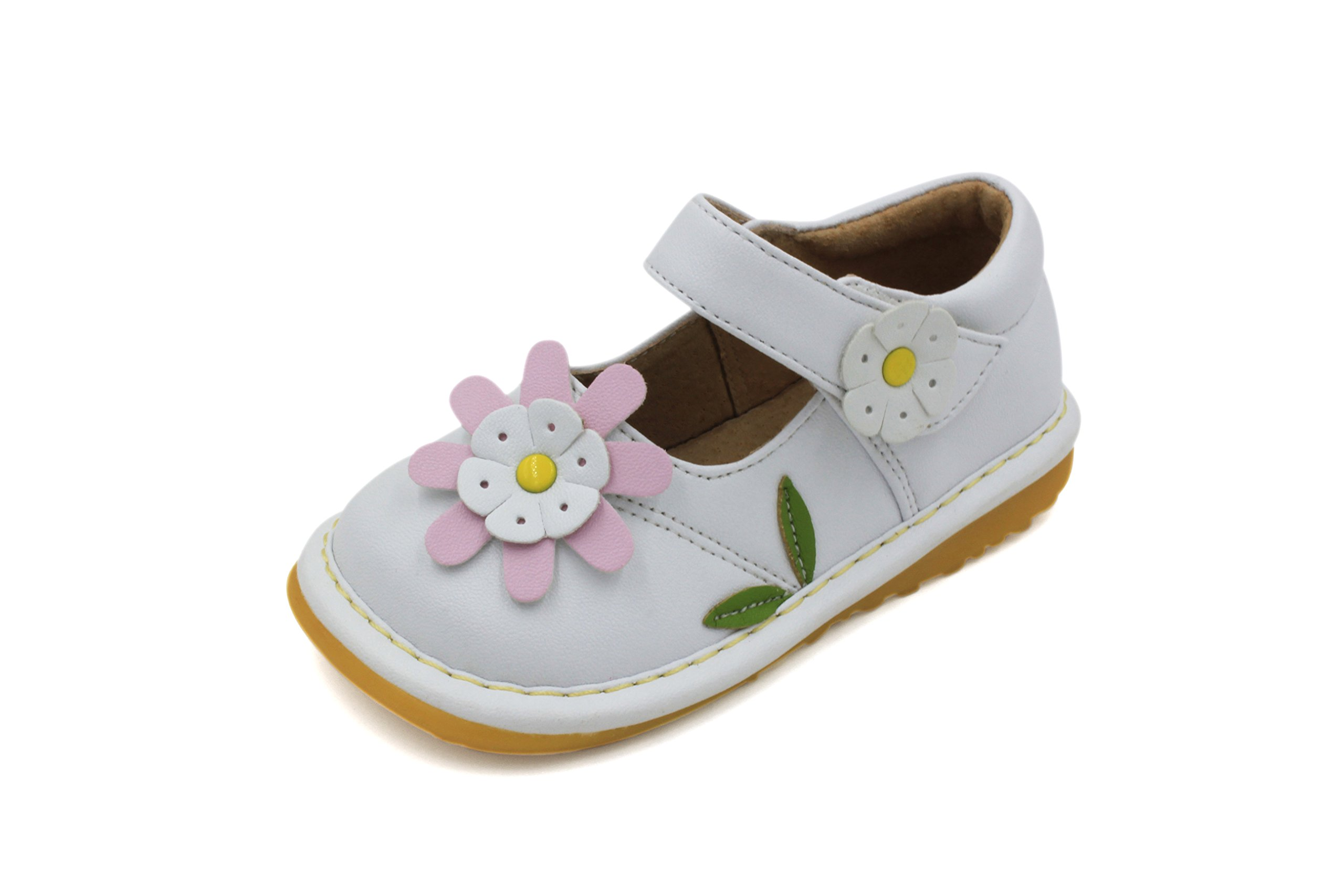 Toddler Shoes | Squeaky White with Light Pink Flower Mary Jane Toddler Girl Squeaky Shoes | Premium Quality (Removable Squeakers)(5)