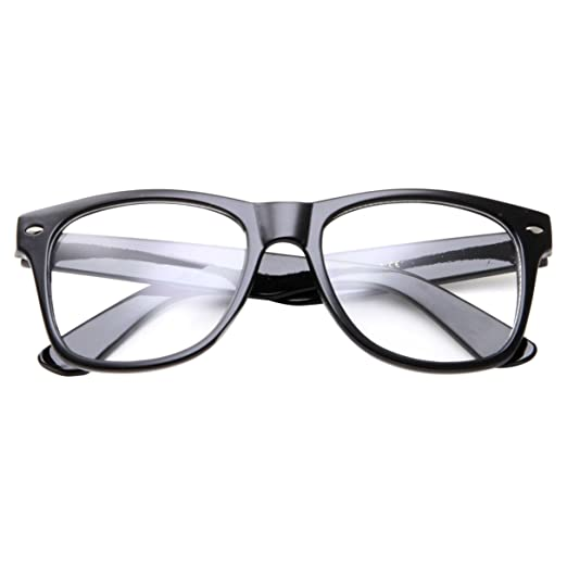 efe384da458 Amazon.com  Childrens Large Nerd Glasses Kids Teen Clear Lens Costume (Age  6-14)  Clothing