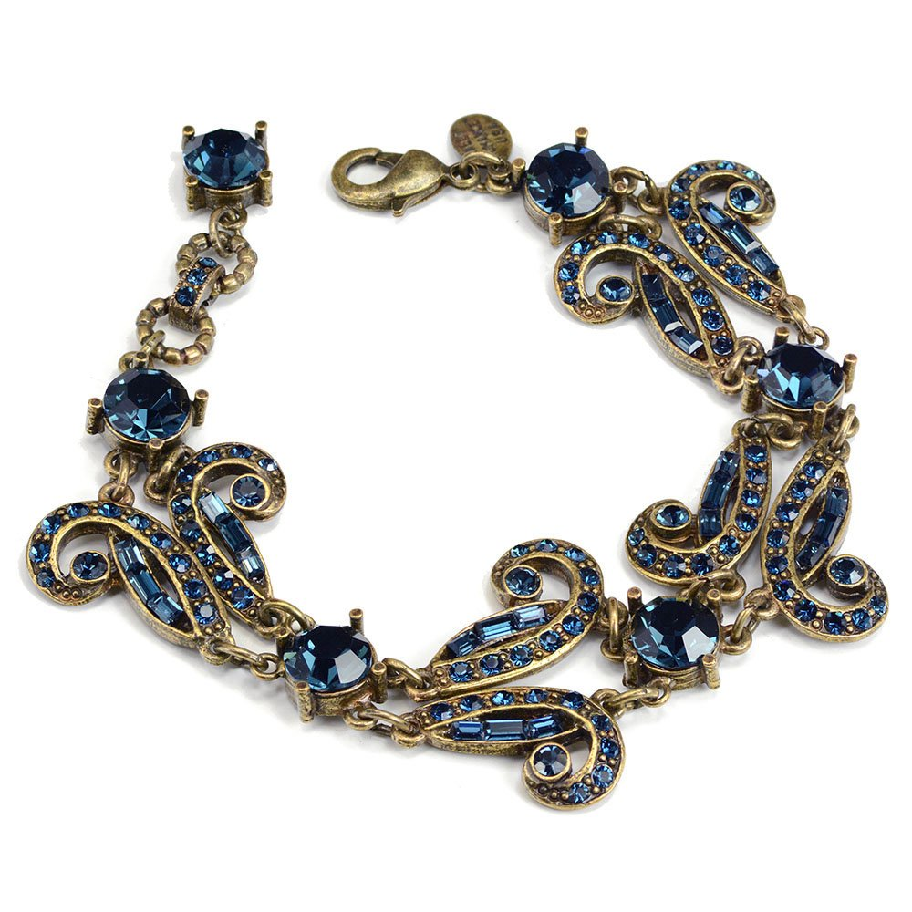 Vintage Style Jewelry, Retro Jewelry Blue Swarovski Crystal Art Deco Vintage Hollywood Crystal Bracelet $84.00 AT vintagedancer.com
