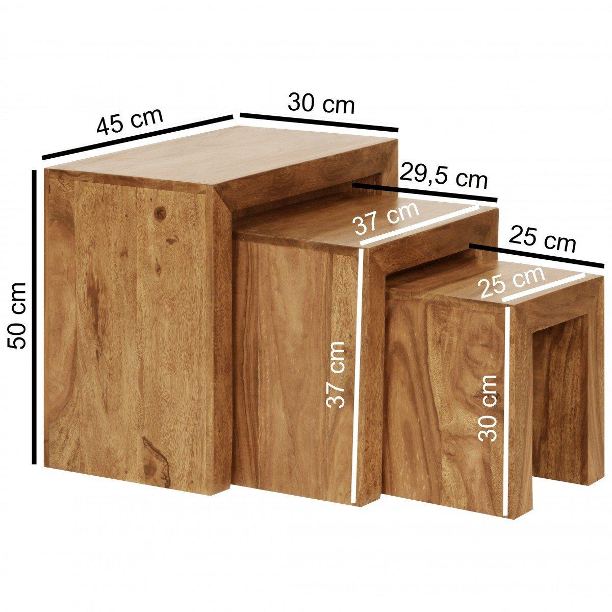 Finebuy 3er Set Satztisch Massiv Holz Wohnzimmer Tisch Landhaus Stil