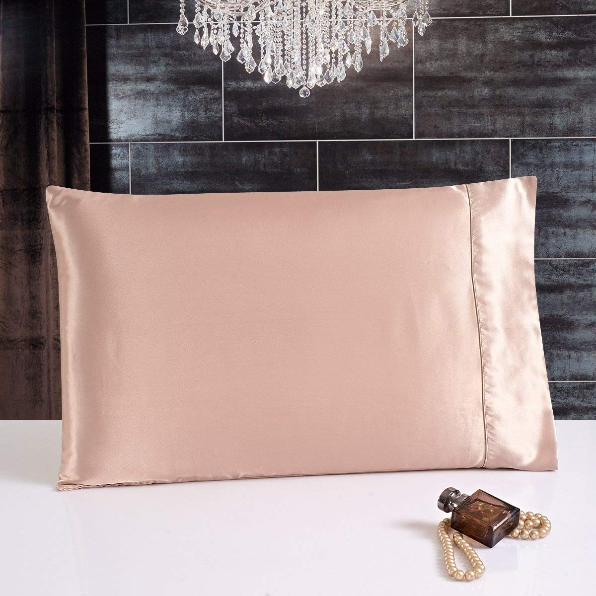 25 MOMME FAUX SILK SATIN CHARMEUSE PILLOWCASE (Beige) Sucomfortable
