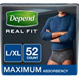 Depend Real Fit Incontinence Underwear for Men, Maximum Absorbency, Black, Large/X-Large (Pack of 52) (Packaging May Vary)