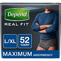 Depend Real Fit Incontinence Maximum Absorbency Briefs for Men, Large/X-Large, 52 Count, Black,