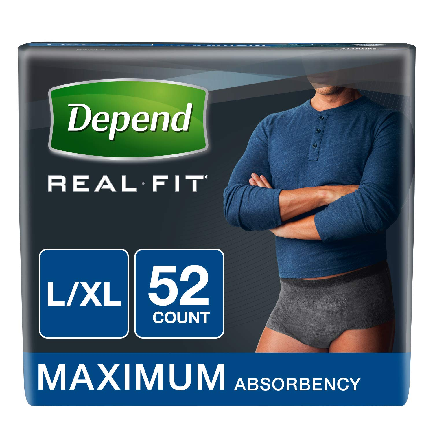 Depend Real Fit Incontinence Underwear for Men, Maximum Absorbency, L/XL, Black, 52 Count (Packaging May Vary) by Depend