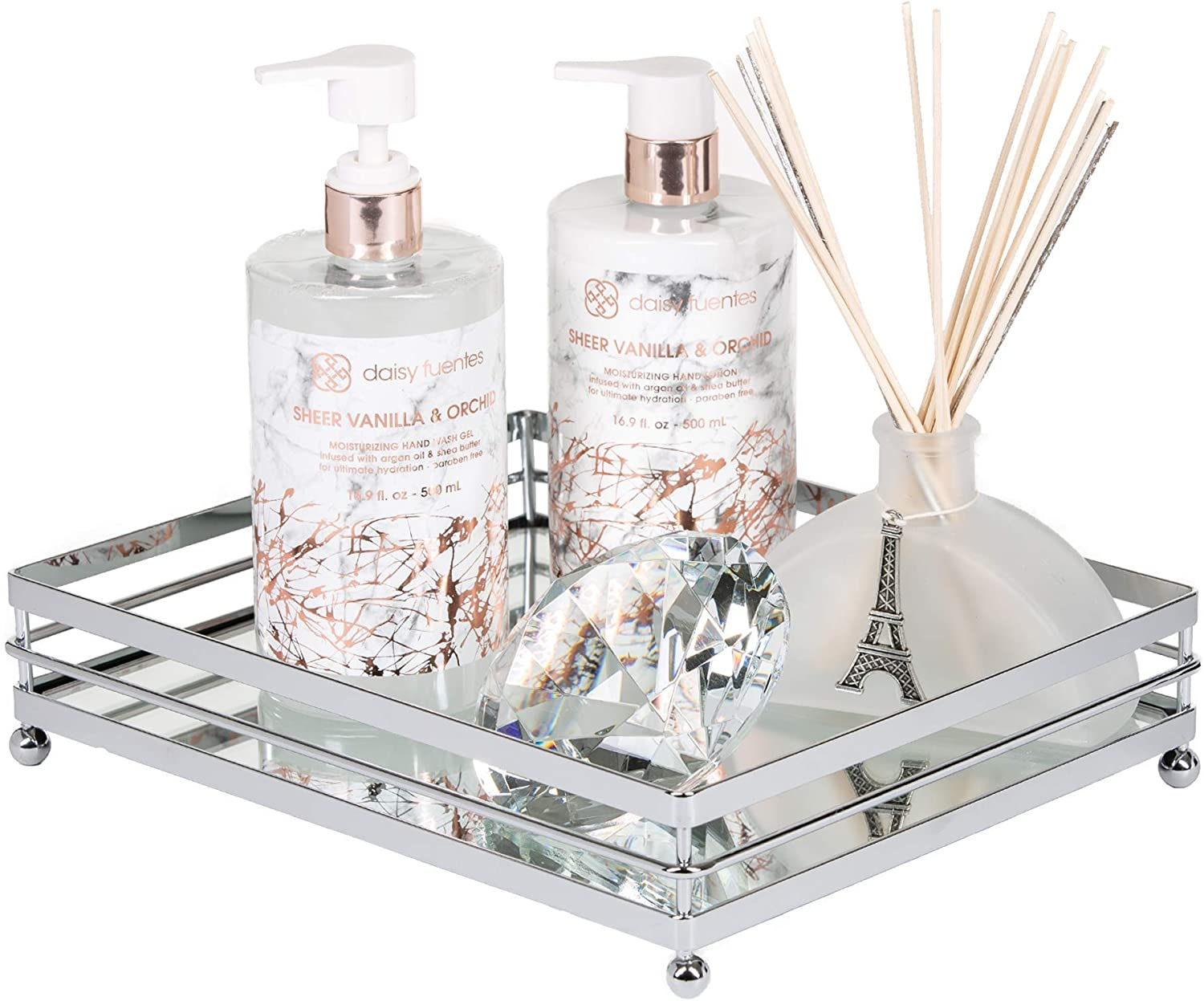 Amazon Com Vnesse Decorative Mirrored Makeup Tray Mirror Perfume Glass Vanity Jewelry Serving Tray Silver Classic For Dressers Kitchen And Bathroom Kitchen Dining