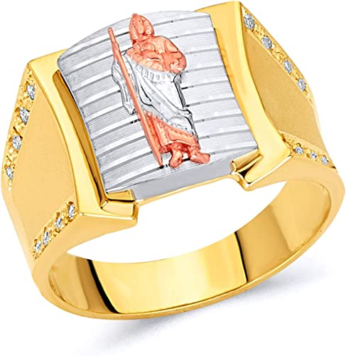 Wellingsale Mens 14K 3 Tri Color White Yellow and Rose//Pink Gold Right Hand Ring Band
