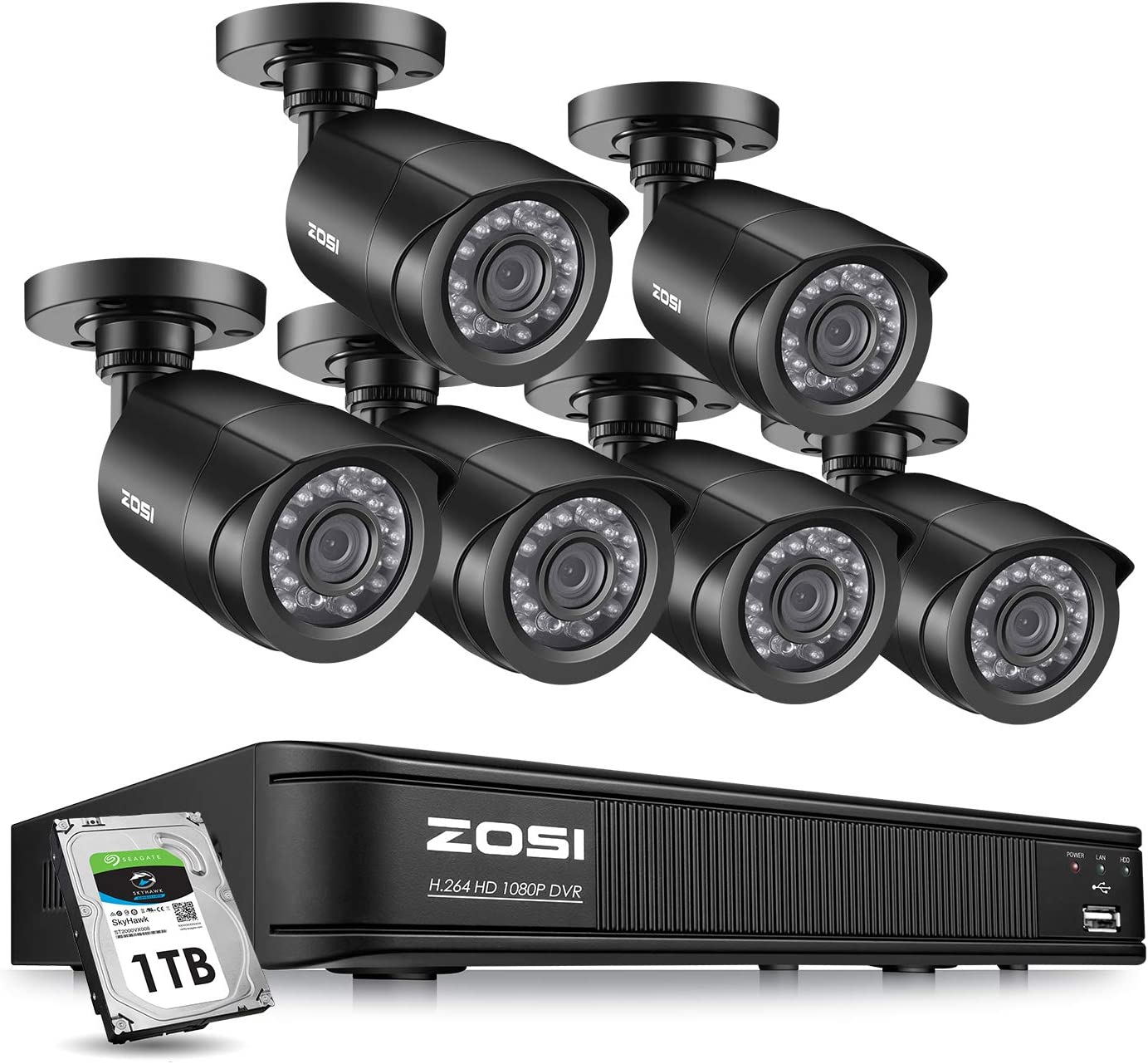 ZOSI 1080P Home Security Camera System Indoor outdoor, 2MP CCTV DVR 8 Channel with Hard Drive 1TB and 6 x 1080P Surveillance Bullet Camera Outside,Remote Access,Motion Detection