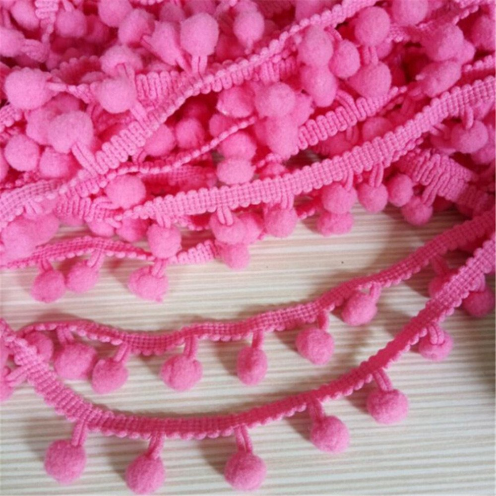 OZXCHIXU(TM) Pink 8mm Pom Pom Trim Lace DIY Sewing Accessory on a 10m length