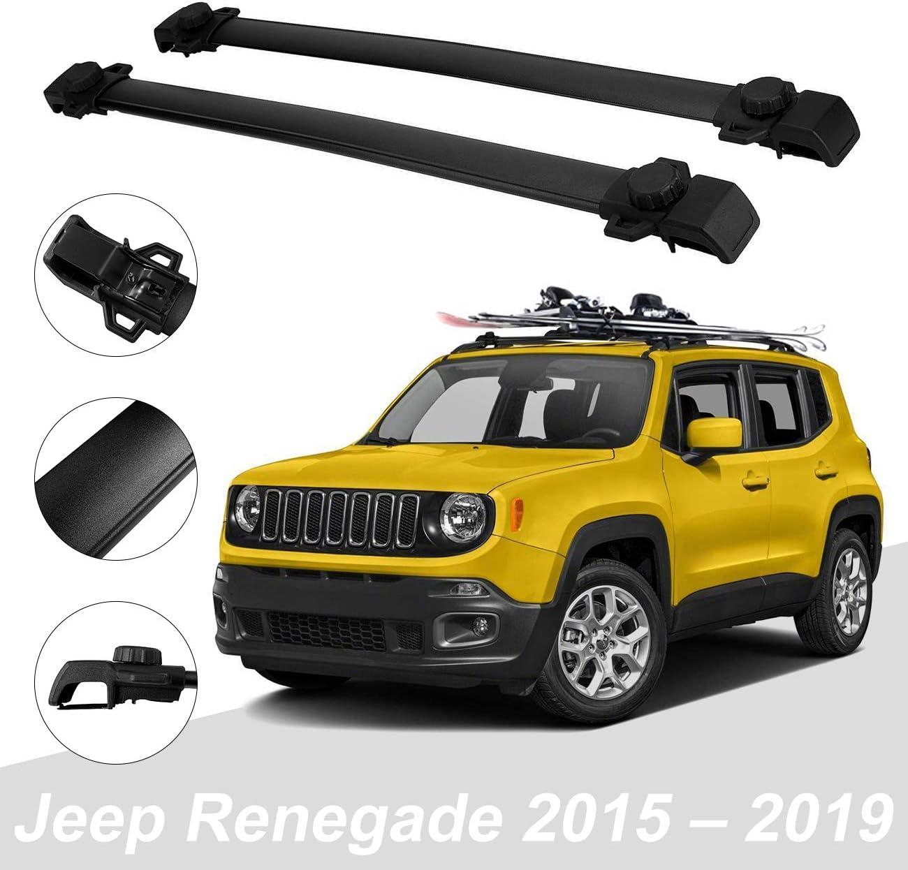 Fits JEEP RENEGADE 2014-ONWARDS Roof Rack Cross Bars  Rails Alu BLACK SET