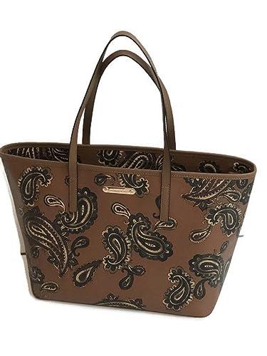 ce7584e42a14 ... closeout michael kors emry luggage cocoa browns paisley saffiano leather  large tote handbag shoulder bag e31c9