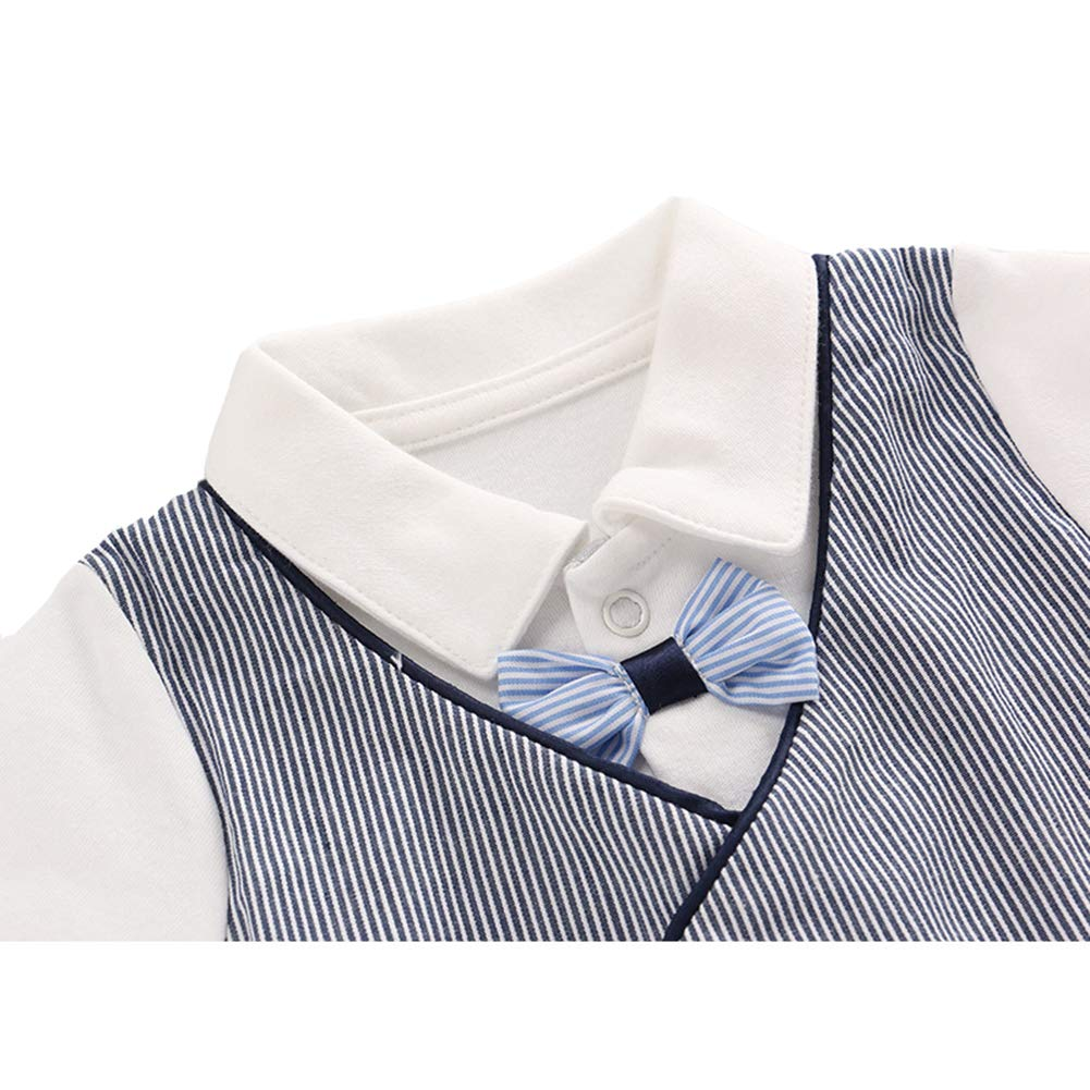 AIKSSOO Infant Baby Toddler Boys Formal Outfit Gentle Tuxedo Long Sleeve Romper