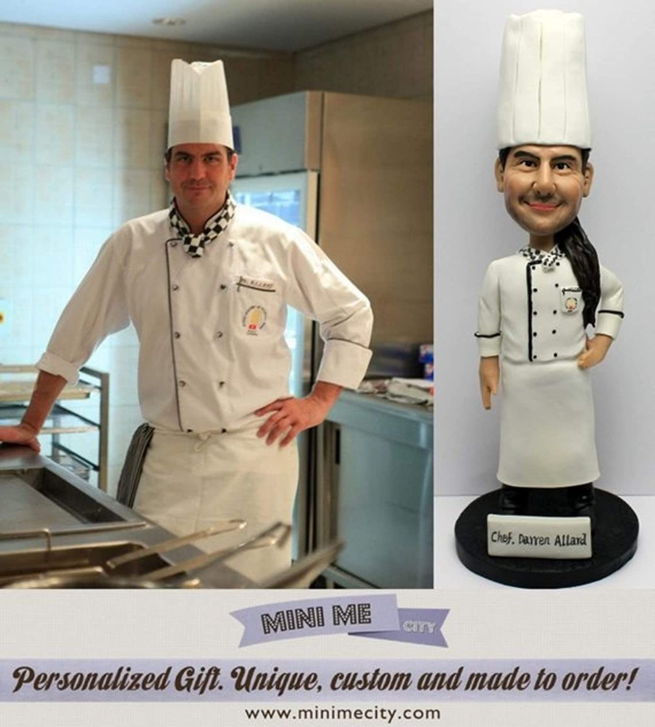 Custom Cook Gift Single Figure Cake Topper, Polymer Clay Cake Topper Sous Chef Gift/Unique Cook Gifts/Cook Gifts for Men Figurine.