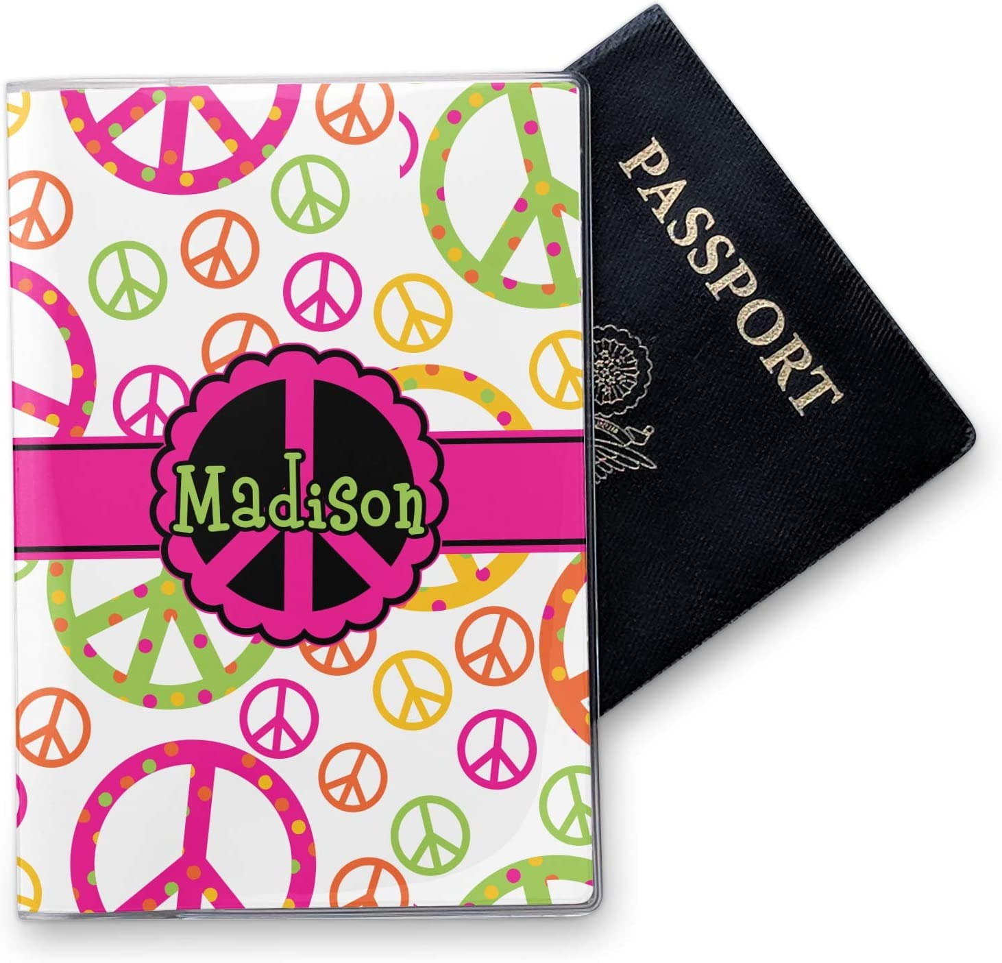 Peace Sign Vinyl Passport Holder Personalized