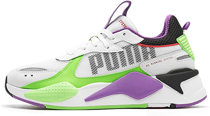 PUMA Sneakers RS X Bold in Pelle e Mesh Bianca con Inserti in gommato Lilla e Verde Fluo