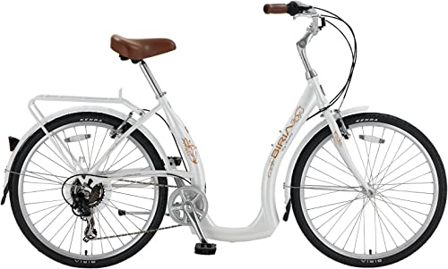 BIRIA Easy Boarding 7 Speed Step Through Cruiser Bicycle 15.5 Pearl White