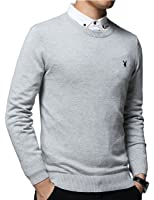 PLAYBOY 花花公子 毛衣男 套头衫 圆领套头男士针织衫 商务休闲男士上衣 纯棉毛衫 男士线衣 X-16808