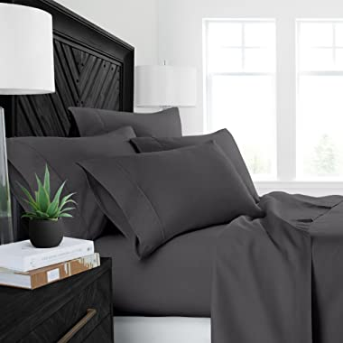 Sleep Restoration Luxury Bed Sheets with All-Natural Pure Aloe Vera Treatment - Eco-Friendly, Hypoallergenic 4-Piece Sheet Set Infused with Soothing/Moisturizing Aloe Vera - Queen - Gray