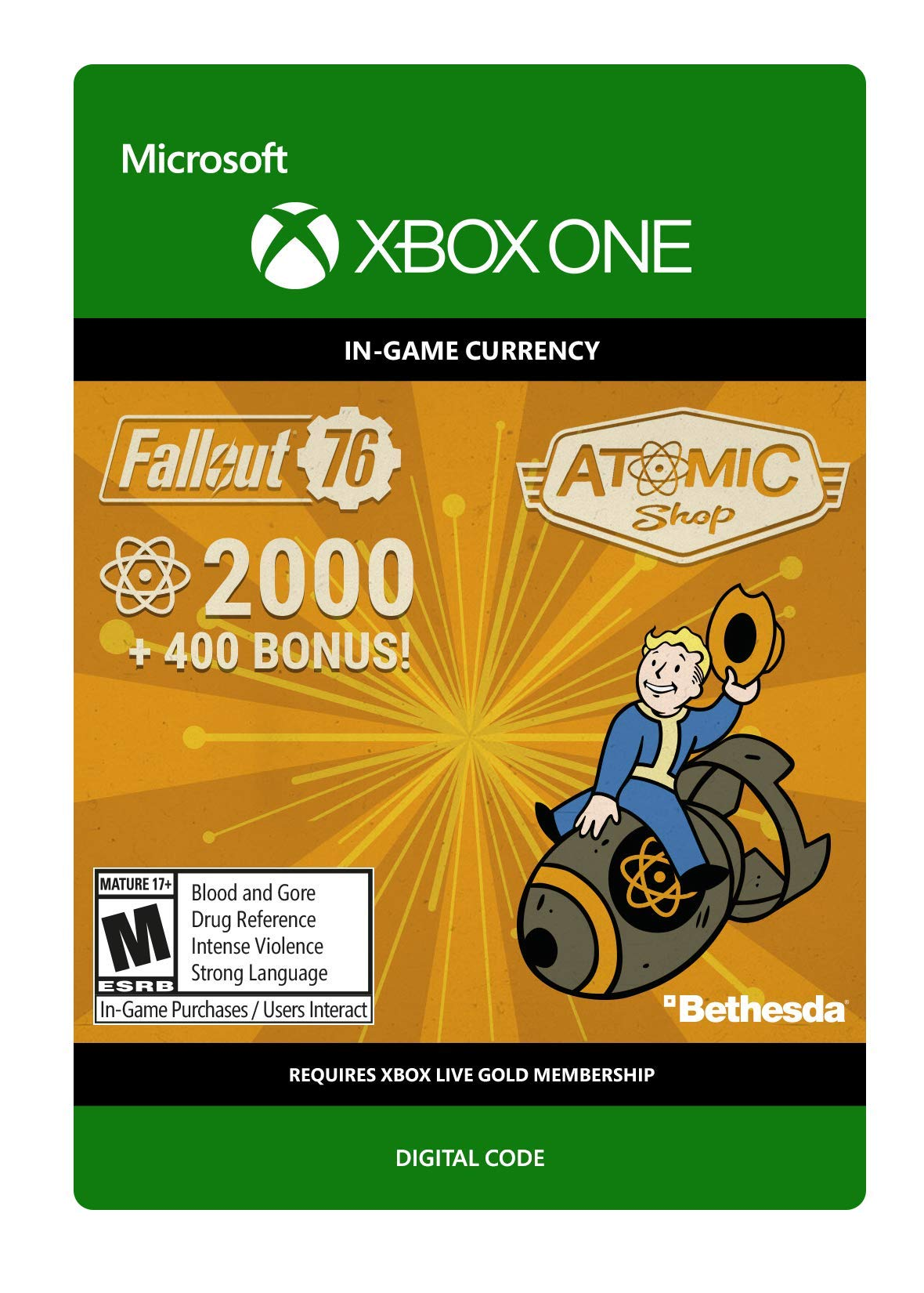 Fallout 76: 2000 (+400 Bonus) Atoms   - Xbox One [Digital Code]