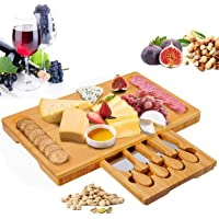 Bamboo Cheese Board Set with Drawer Wooden Charcuterie Tray Platter Including 4 Stainless Steel Knife and Serving…