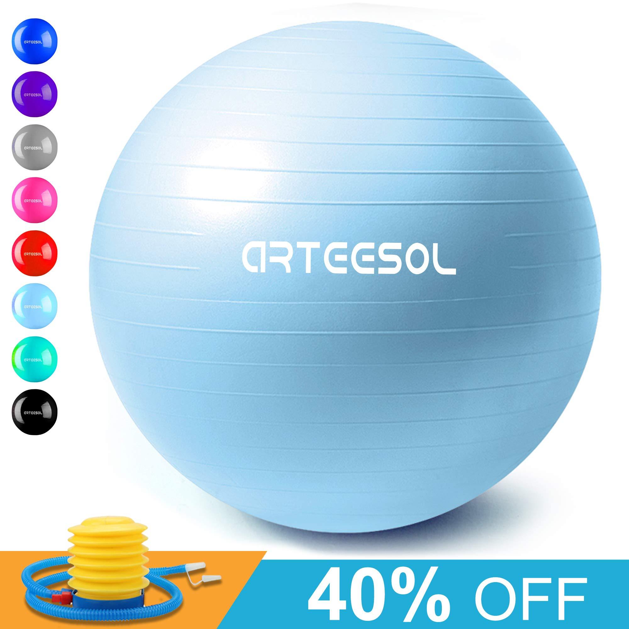 arteesol Exercise Yoga Ball, Extra Thick Stability Balance Ball (45-75cm), Professional Grade Anti Burst&Slip Resistant Balance, Fitness&Physical Therapy, Birthing Ball with Air Pump (Moonblue, 55cm)