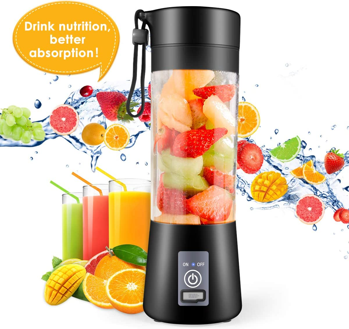 Portable Blender, Mini Mixer for smoothies and shakes, Kitchen tools,Fruit Mixing Machine with USB Rechargeable Batteries